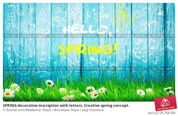 SPRING decorative inscription with letters. Creative spring concept. Стоковое фото, фотограф Zoonar.com/Waldemar Thaut / easy Fotostock / Фотобанк Лори