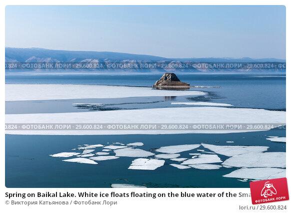 Купить «Spring on Baikal Lake. White ice floats floating on the blue water of the Small Sea Strait. Cormorants flew to the stone Edor islet», фото № 29600824, снято 10 мая 2015 г. (c) Виктория Катьянова / Фотобанк Лори