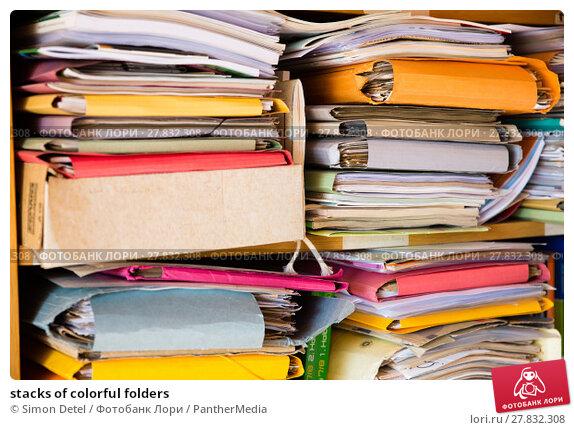 Купить «stacks of colorful folders», фото № 27832308, снято 20 февраля 2018 г. (c) PantherMedia / Фотобанк Лори
