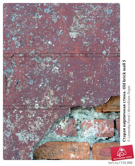 Старая кирпичная стена. Old brick wall 5, фото № 116996, снято 6 марта 2006 г. (c) Losevsky Pavel / Фотобанк Лори