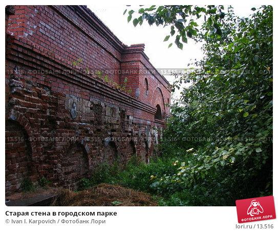 Старая стена в городском парке, фото № 13516, снято 12 августа 2006 г. (c) Ivan I. Karpovich / Фотобанк Лори
