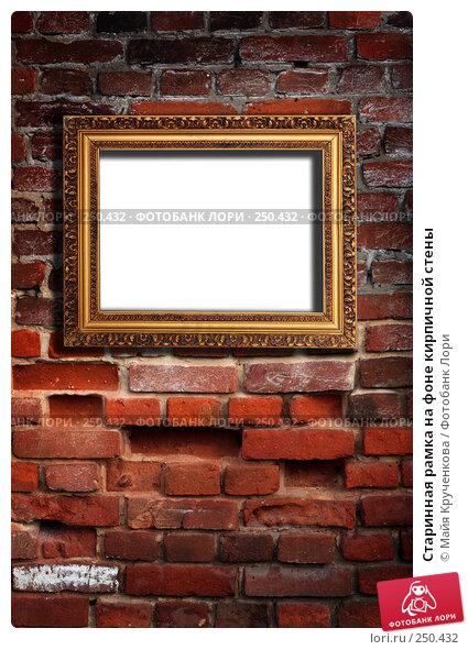 Купить «Старинная рамка на фоне кирпичной стены», фото № 250432, снято 11 апреля 2008 г. (c) Майя Крученкова / Фотобанк Лори