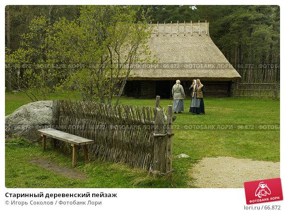 Старинный деревенский пейзаж, фото № 66872, снято 28 октября 2016 г. (c) Игорь Соколов / Фотобанк Лори