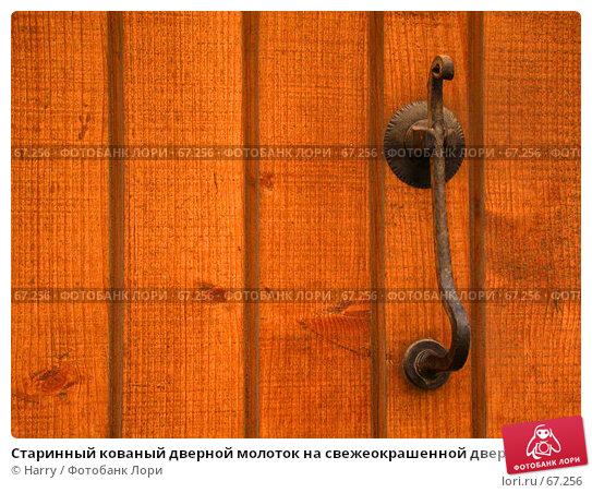 Старинный кованый дверной молоток на свежеокрашенной двери в Болгарии, фото № 67256, снято 12 мая 2005 г. (c) Harry / Фотобанк Лори