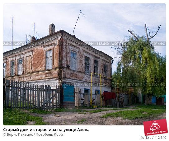 Купить «Старый дом и старая ива на улице Азова», фото № 112640, снято 12 июня 2006 г. (c) Борис Панасюк / Фотобанк Лори