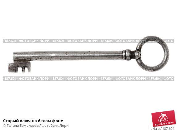Старый ключ на белом фоне, фото № 187604, снято 15 января 2008 г. (c) Галина Ермолаева / Фотобанк Лори