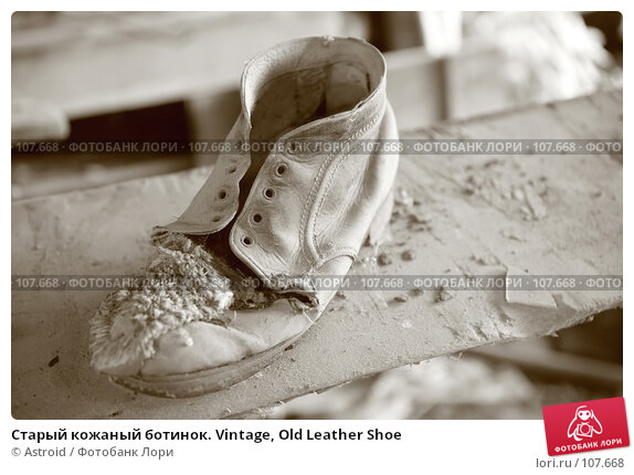 Старый кожаный ботинок. Vintage, Old Leather Shoe, фото № 107668, снято 27 августа 2007 г. (c) Astroid / Фотобанк Лори