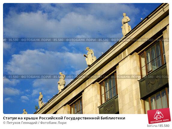 Статуи на крыше Российской Государственной Библиотеки, фото № 85580, снято 23 июня 2007 г. (c) Петухов Геннадий / Фотобанк Лори