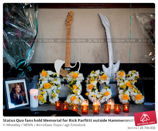 Купить «Status Quo fans hold Memorial for Rick Parfittt outside Hammersmith Odeon Apollo Featuring: Atmosphere, View Where: London, United Kingdom When: 29 Dec 2016 Credit: Wheatley/WENN.», фото № 28700836, снято 29 декабря 2016 г. (c) age Fotostock / Фотобанк Лори