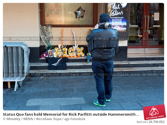 Купить «Status Quo fans hold Memorial for Rick Parfittt outside Hammersmith Odeon Apollo Featuring: Atmosphere, View Where: London, United Kingdom When: 29 Dec 2016 Credit: Wheatley/WENN.», фото № 28700852, снято 29 декабря 2016 г. (c) age Fotostock / Фотобанк Лори