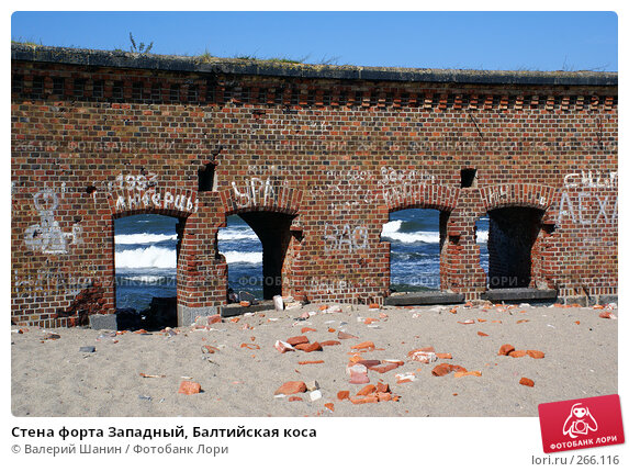 Купить «Стена форта Западный, Балтийская коса», фото № 266116, снято 23 июля 2007 г. (c) Валерий Шанин / Фотобанк Лори