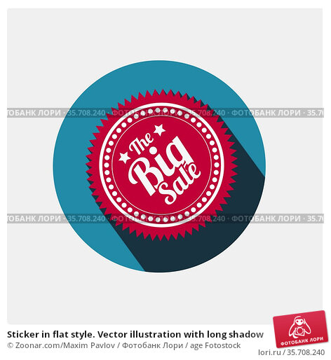 Sticker in flat style. Vector illustration with long shadow. Стоковое фото, фотограф Zoonar.com/Maxim Pavlov / age Fotostock / Фотобанк Лори