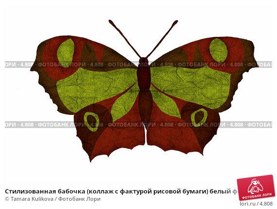 Купить «Стилизованная бабочка (коллаж с фактурой рисовой бумаги) белый фон», иллюстрация № 4808 (c) Tamara Kulikova / Фотобанк Лори