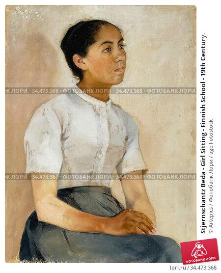 Stjernschantz Beda - Girl Sitting - Finnish School - 19th Century. Редакционное фото, фотограф Artepics / age Fotostock / Фотобанк Лори