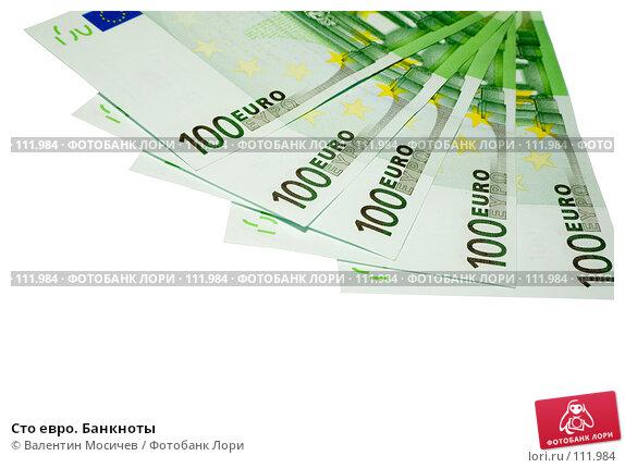 Купить «Сто евро. Банкноты», фото № 111984, снято 24 ноября 2006 г. (c) Валентин Мосичев / Фотобанк Лори