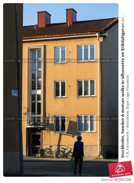 Stockholm, Sweden A woman walks in silhouette on Erikdalsgatan on... Редакционное фото, фотограф A. Farnsworth / age Fotostock / Фотобанк Лори