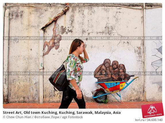 Street Art, Old town Kuching, Kuching, Sarawak, Malaysia, Asia. Редакционное фото, фотограф Chew Chun Hian / age Fotostock / Фотобанк Лори