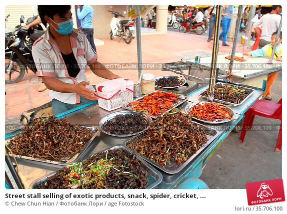 Street stall selling of exotic products, snack, spider, cricket, ... (2014 год). Редакционное фото, фотограф Chew Chun Hian / age Fotostock / Фотобанк Лори