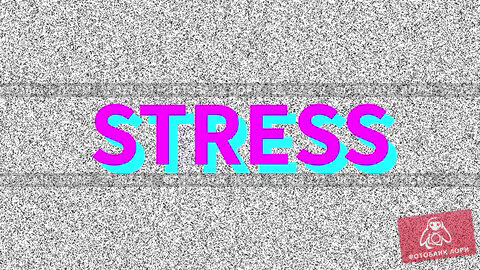 Stress. Word about medicine problem on noisy old screen. Looping VHS interference. Vintage animated background. 4K video footage. Стоковая анимация, видеограф Dmitry Domashenko / Фотобанк Лори
