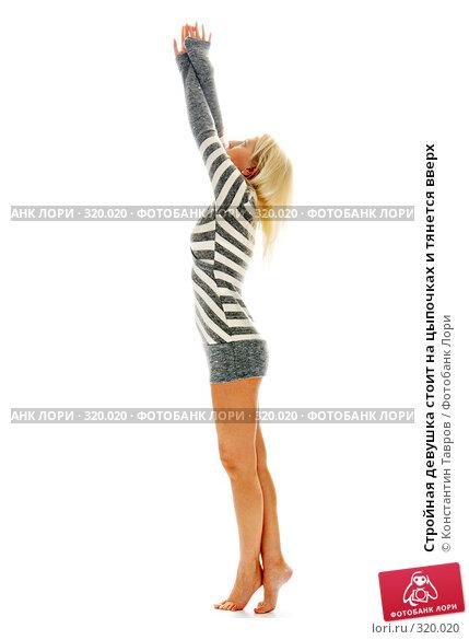 Купить «Стройная девушка стоит на цыпочках и тянется вверх», фото № 320020, снято 25 сентября 2007 г. (c) Константин Тавров / Фотобанк Лори