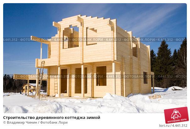 Купить «Строительство деревянного коттеджа зимой», эксклюзивное фото № 4441312, снято 22 марта 2013 г. (c) Владимир Чинин / Фотобанк Лори