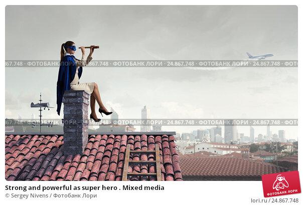 Купить «Strong and powerful as super hero . Mixed media», фото № 24867748, снято 19 марта 2019 г. (c) Sergey Nivens / Фотобанк Лори