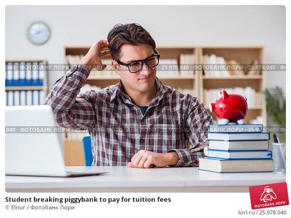 Купить «Student breaking piggybank to pay for tuition fees», фото № 25978040, снято 6 января 2017 г. (c) Elnur / Фотобанк Лори