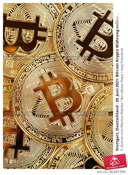 Stuttgart, Deutschland - 20. Juni 2021: Bitcoin Krypto Währung online... Стоковое фото, фотограф Zoonar.com/Markus Mainka / easy Fotostock / Фотобанк Лори