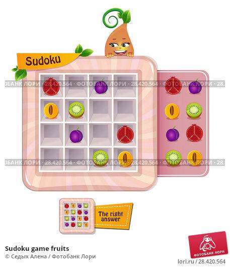 Купить «Sudoku game fruits», иллюстрация № 28420564 (c) Седых Алена / Фотобанк Лори