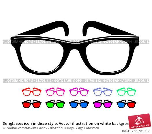 Sunglasses icon in disco style. Vector illustration on white background. Стоковое фото, фотограф Zoonar.com/Maxim Pavlov / age Fotostock / Фотобанк Лори