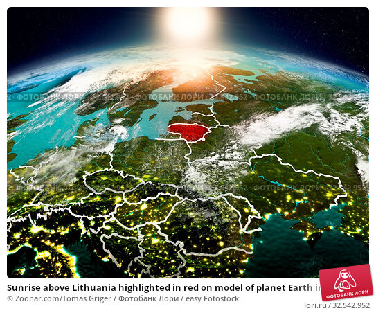 Купить «Sunrise above Lithuania highlighted in red on model of planet Earth in space with visible country borders. 3D illustration. Elements of this image furnished by NASA.», фото № 32542952, снято 10 декабря 2019 г. (c) easy Fotostock / Фотобанк Лори