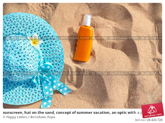 Купить «sunscreen, hat on the sand, concept of summer vacation, an optic with a place for your text», фото № 28420728, снято 19 апреля 2018 г. (c) Happy Letters / Фотобанк Лори