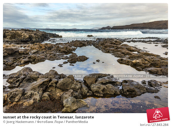 Купить «sunset at the rocky coast in Tenesar, lanzarote», фото № 27843284, снято 20 октября 2018 г. (c) PantherMedia / Фотобанк Лори