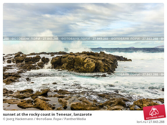 Купить «sunset at the rocky coast in Tenesar, lanzarote», фото № 27843288, снято 22 февраля 2018 г. (c) PantherMedia / Фотобанк Лори