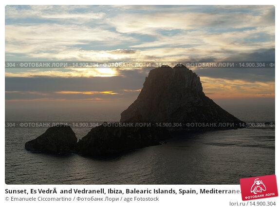 Купить «Sunset, Es Vedrà and Vedranell, Ibiza, Balearic Islands, Spain, Mediterranean, Europe.», фото № 14900304, снято 19 июня 2018 г. (c) age Fotostock / Фотобанк Лори