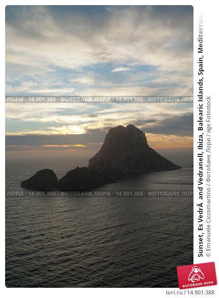 Купить «Sunset, Es Vedrà and Vedranell, Ibiza, Balearic Islands, Spain, Mediterranean, Europe.», фото № 14901388, снято 19 июня 2018 г. (c) age Fotostock / Фотобанк Лори