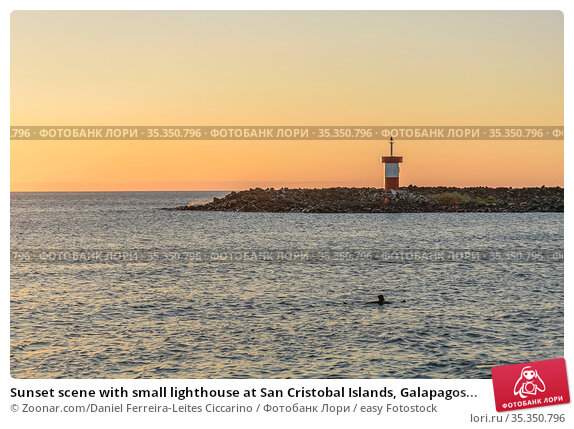 Sunset scene with small lighthouse at San Cristobal Islands, Galapagos... Стоковое фото, фотограф Zoonar.com/Daniel Ferreira-Leites Ciccarino / easy Fotostock / Фотобанк Лори