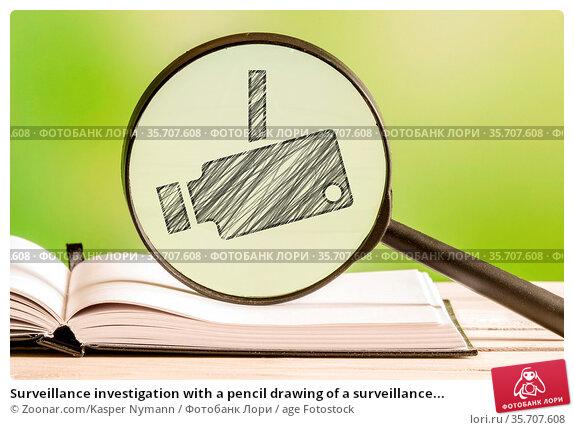 Surveillance investigation with a pencil drawing of a surveillance... Стоковое фото, фотограф Zoonar.com/Kasper Nymann / age Fotostock / Фотобанк Лори