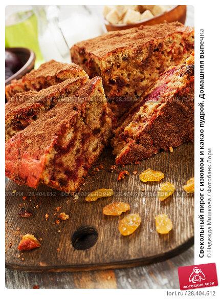 Купить «Свекольный пирог с изюмом и какао пудрой. Домашняя выпечка», фото № 28404612, снято 29 января 2018 г. (c) Надежда Мишкова / Фотобанк Лори