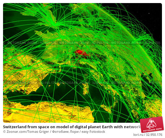 Switzerland from space on model of digital planet Earth with network. Concept of digital technology, connectivity and travel. 3D illustration. Elements of this image furnished by NASA. Стоковое фото, фотограф Zoonar.com/Tomas Griger / easy Fotostock / Фотобанк Лори
