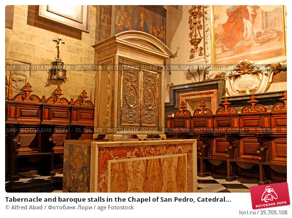 Tabernacle and baroque stalls in the Chapel of San Pedro, Catedral... Редакционное фото, фотограф Alfred Abad / age Fotostock / Фотобанк Лори