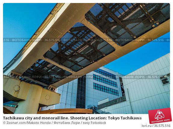 Tachikawa city and monorail line. Shooting Location: Tokyo Tachikawa. Стоковое фото, фотограф Zoonar.com/Makoto Honda / easy Fotostock / Фотобанк Лори