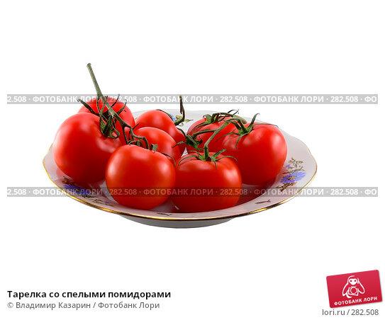 Тарелка со спелыми помидорами, фото № 282508, снято 22 июля 2017 г. (c) Владимир Казарин / Фотобанк Лори