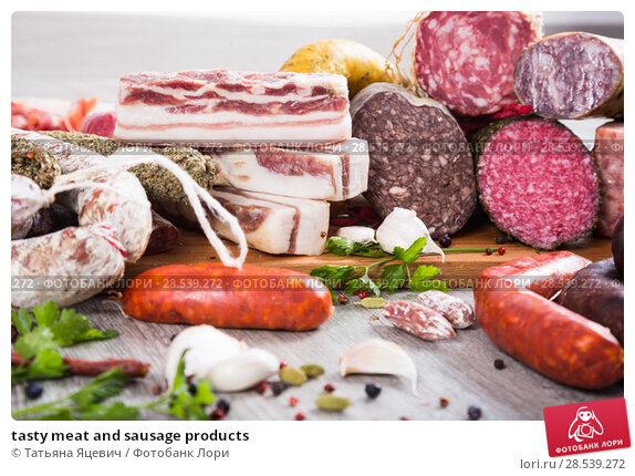Купить «tasty meat and sausage products», фото № 28539272, снято 17 ноября 2016 г. (c) Татьяна Яцевич / Фотобанк Лори