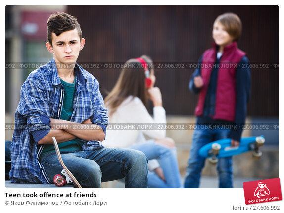 Купить «Teen took offence at friends», фото № 27606992, снято 25 мая 2019 г. (c) Яков Филимонов / Фотобанк Лори