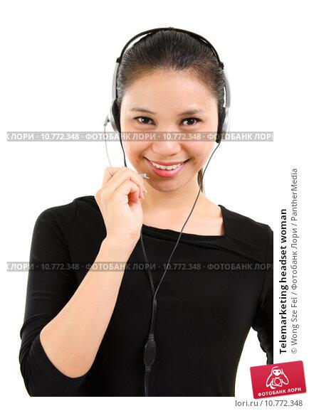 Купить «Telemarketing headset woman», фото № 10772348, снято 22 февраля 2019 г. (c) PantherMedia / Фотобанк Лори