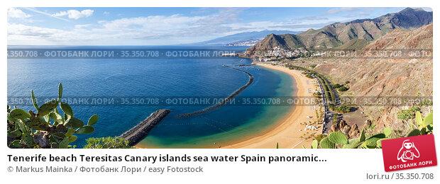 Tenerife beach Teresitas Canary islands sea water Spain panoramic... Стоковое фото, фотограф Markus Mainka / easy Fotostock / Фотобанк Лори