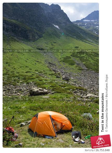 Купить «Tent in the mountains», фото № 26753848, снято 8 августа 2017 г. (c) Типляшина Евгения / Фотобанк Лори