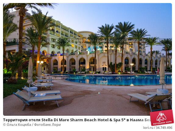 Территория отеля Stella Di Mare Sharm Beach Hotel & Spa 5* в Наама Бей, Шарм-эль-Шейх, Египет. Главный корпус и бассейн, вечерний вид. Редакционное фото, фотограф Ольга Коцюба / Фотобанк Лори