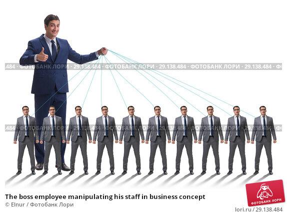 Купить «The boss employee manipulating his staff in business concept», фото № 29138484, снято 17 октября 2018 г. (c) Elnur / Фотобанк Лори